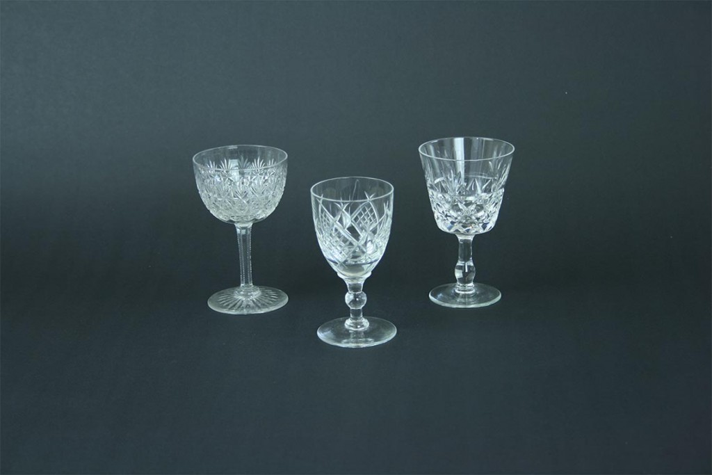 collection of nine various designs of Liqueur cut glasses
