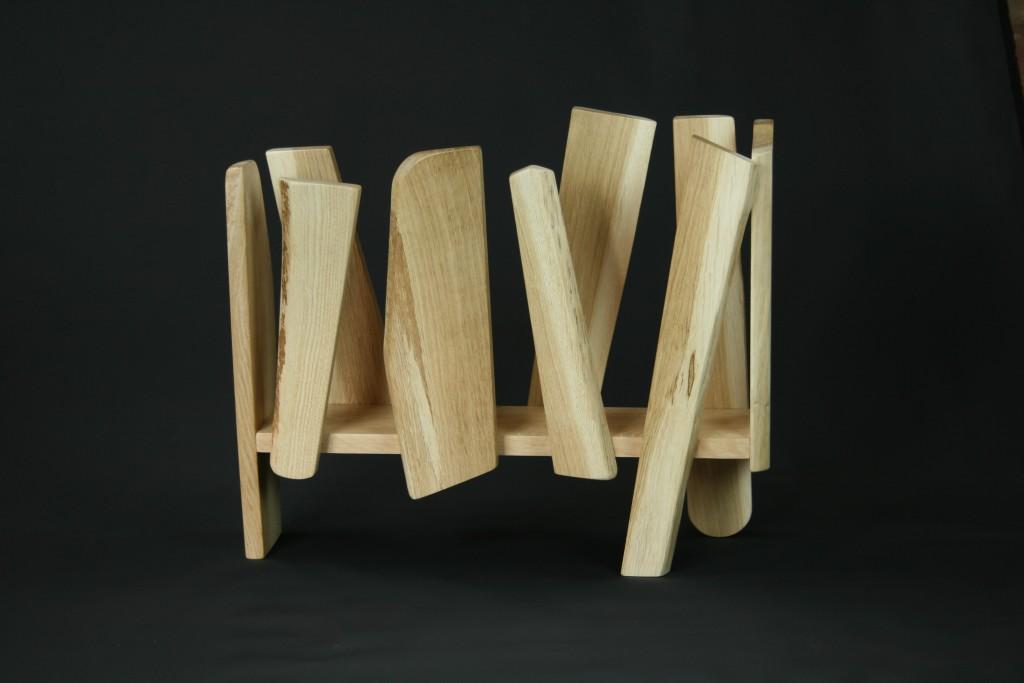 Handmade Oak designer magazine rack
