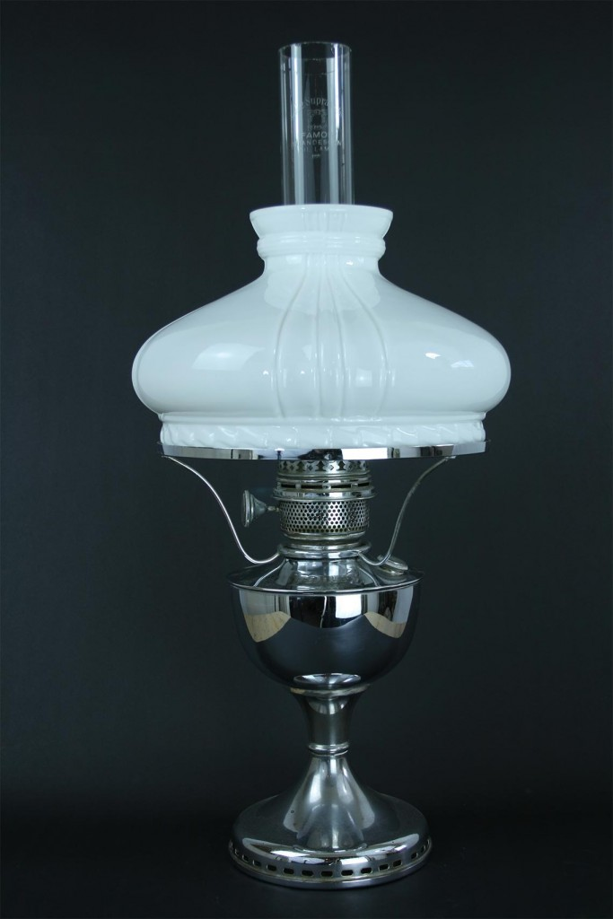"""antique oil lamp by """"Famos"""""""