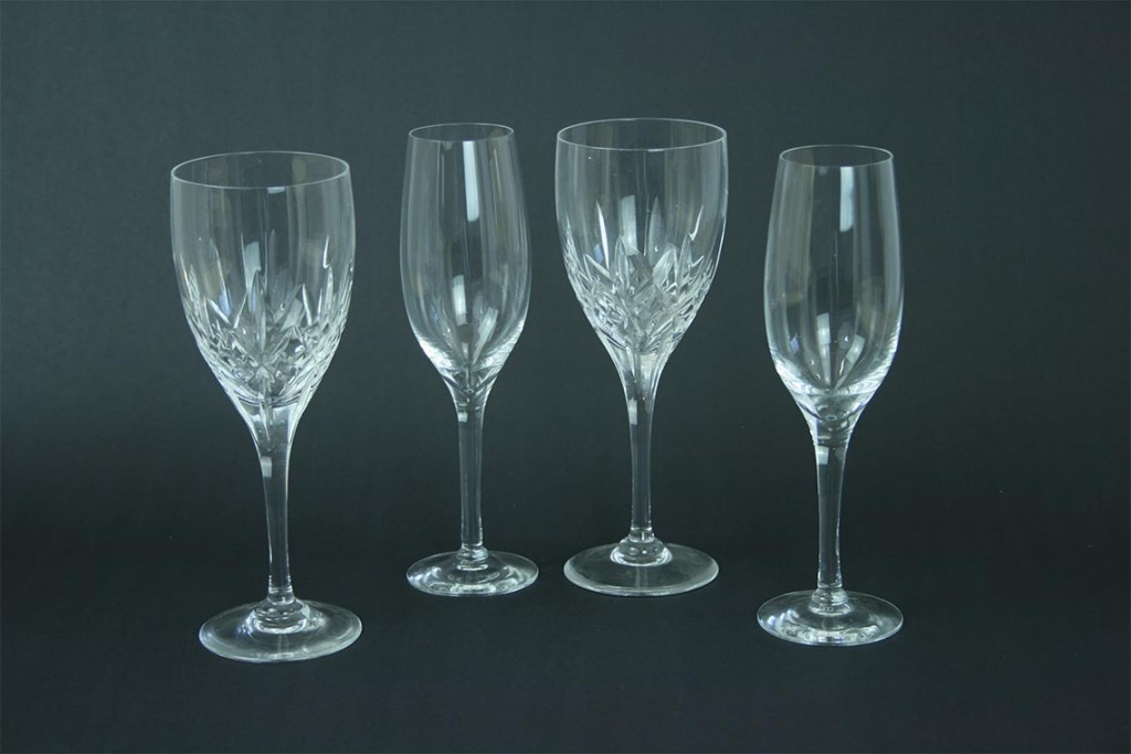 Crystal cut glass wine glasses, and nine sherry flutes